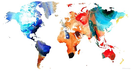 Map of The World 8 -Colorful Abstract Art by Sharon Cummings