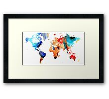 Map of The World 8 -Colorful Abstract Art Framed Print