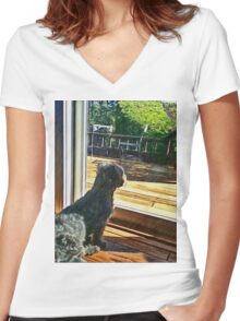 Fluffy watcher Women's Fitted V-Neck T-Shirt