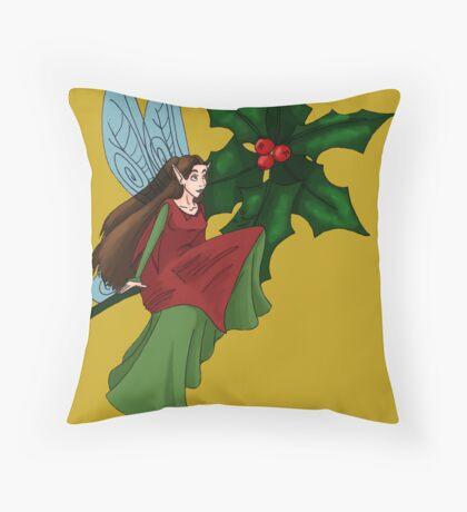 Holly Fairy Throw Pillow