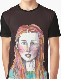 Watercolor Drawing of Young Woman  Graphic T-Shirt