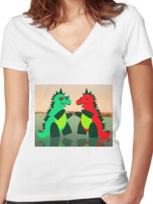Dino Party at Sea Women's Fitted V-Neck T-Shirt