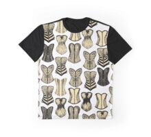 Vintage Sexy Cream and Black Girly Corsets Pattern Graphic T-Shirt