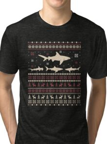 Shark Ugly Christmas Sweater Tri-blend T-Shirt