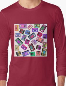 Retro 80's 90's Neon Patterned Cassette Tapes Long Sleeve T-Shirt