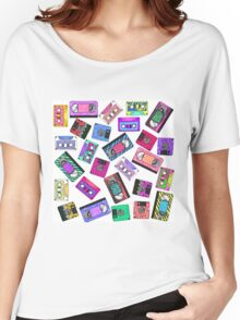 Retro 80's 90's Neon Patterned Cassette Tapes Women's Relaxed Fit T-Shirt