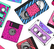Retro 80's 90's Neon Patterned Cassette Tapes Sticker