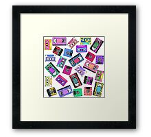 Retro 80's 90's Neon Patterned Cassette Tapes Framed Print