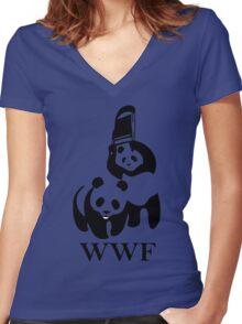 wwf panda wrestling Women's Fitted V-Neck T-Shirt