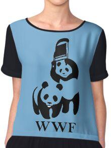 wwf panda wrestling Chiffon Top