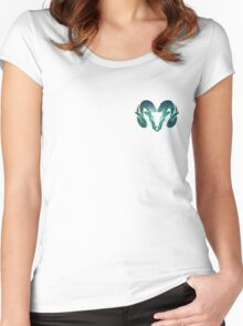 Aqua Rams Head Spirit Animal Women's Fitted Scoop T-Shirt