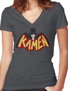 Retro Tuxedo Kamen Logo Women's Fitted V-Neck T-Shirt
