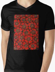 Red Flowers Mens V-Neck T-Shirt