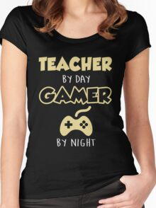 Teacher By Day Gamer By Night.  Women's Fitted Scoop T-Shirt