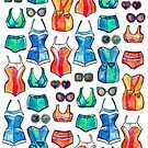 Sixties Swimsuits and Sunnies on white by micklyn