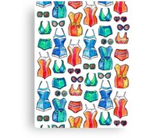 Sixties Swimsuits and Sunnies on white Canvas Print