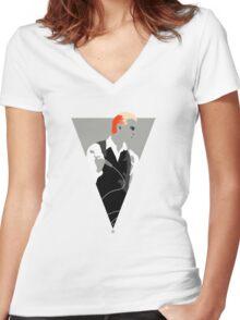 The Thin White Duke. Women's Fitted V-Neck T-Shirt