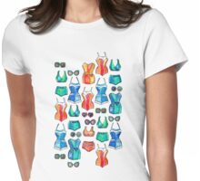 Sixties Swimsuits and Sunnies on white Womens Fitted T-Shirt