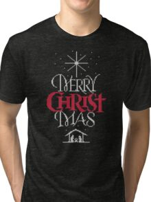 Granny knit me an ugly Christmas sweater - Religious Christian - Merry Christ Mas Tri-blend T-Shirt