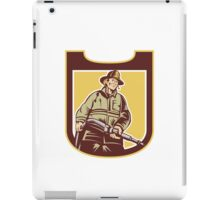 Fireman Firefighter Aiming Fire Hose Shield Retro iPad Case/Skin
