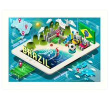 Isometric Infographic of Brazil on Tablet Art Print