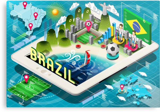 Isometric Infographic of Brazil on Tablet by aurielaki