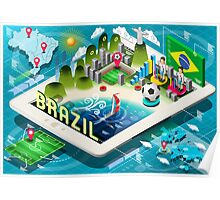 Isometric Infographic of Brazil on Tablet Poster