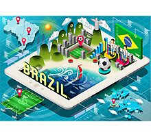 Isometric Infographic of Brazil on Tablet Photographic Print