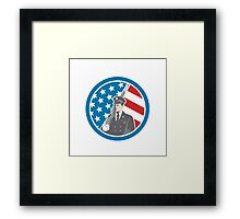 Soldier Military Serviceman Holding Rifle Circle Retro Framed Print