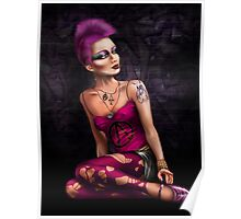 Punk girl in pink Poster