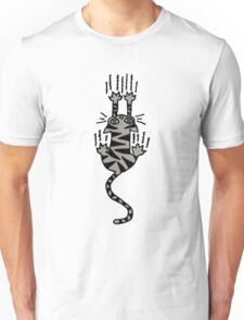 Funny and Cool Grey Striped Cat Scratching while Sliding Unisex T-Shirt