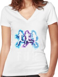 Running is Type 2 fun Women's Fitted V-Neck T-Shirt