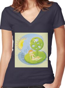 Summer Rest Women's Fitted V-Neck T-Shirt