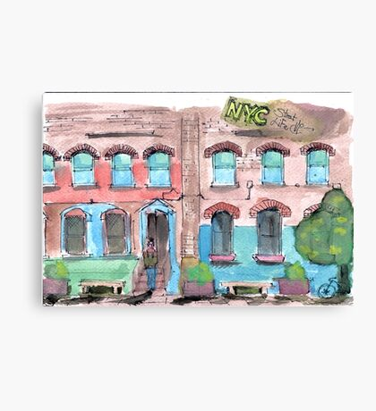 Stree Life Sketching - real watercolour Canvas Print