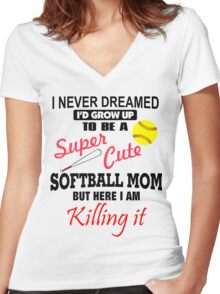 I Never Dreamed Softball Women's Fitted V-Neck T-Shirt