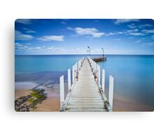 Safety Beach Pier on a beautiful blue sky day on the Mornington Peninsula Canvas Print