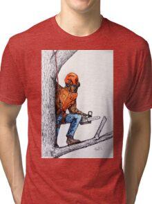 Arborist Tree Surgeon Lumberjack Logger Stihl chainsaw Tri-blend T-Shirt