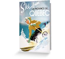 Vintage ski poster, woman skiing in Quebec Greeting Card