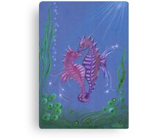 Seahorses in sea and love  Canvas Print