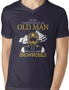 Never Underestimate An Old Man With A Snowmobile Mens V-Neck T-Shirt