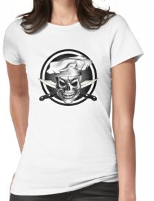 Chef Skull Black 3 Womens Fitted T-Shirt