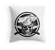 Chef Skull Black 3 Throw Pillow