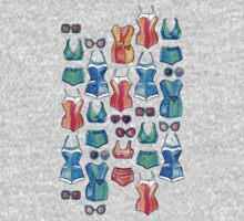 Sixties Swimsuits and Sunnies on dark blue One Piece - Short Sleeve