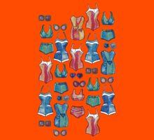 Sixties Swimsuits and Sunnies on dark blue Kids Tee