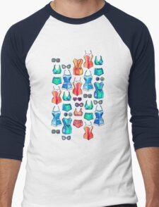Sixties Swimsuits and Sunnies on dark blue Men's Baseball ¾ T-Shirt