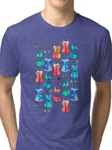 Sixties Swimsuits and Sunnies on dark blue Tri-blend T-Shirt