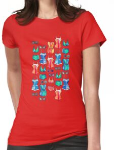 Sixties Swimsuits and Sunnies on dark blue Womens Fitted T-Shirt