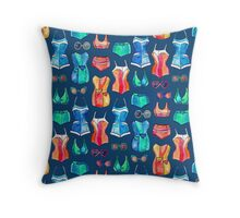 Sixties Swimsuits and Sunnies on dark blue Throw Pillow