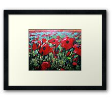 Field of Poppies. Painting by Samuel Durkin Framed Print