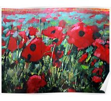 Field of Poppies. Painting by Samuel Durkin Poster